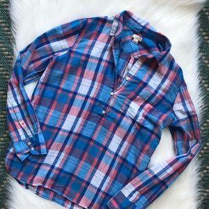 J. Crew Plaid Popover 1/4 Button Down Shirt